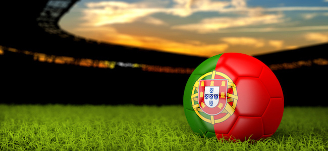 Portuguese flag on football in stadium