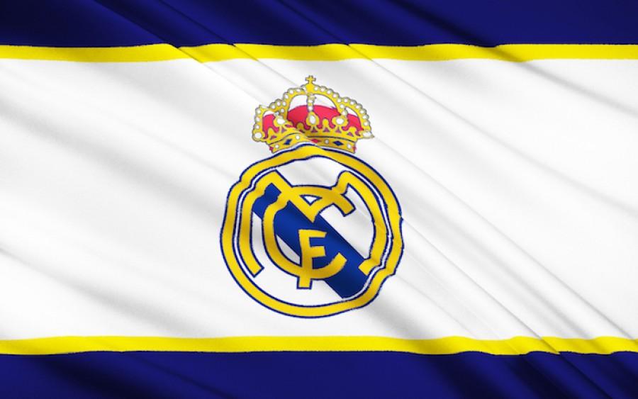 Real Madrid logo on flag