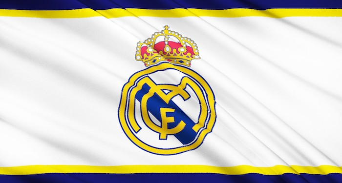 Real Madrid logo on flag