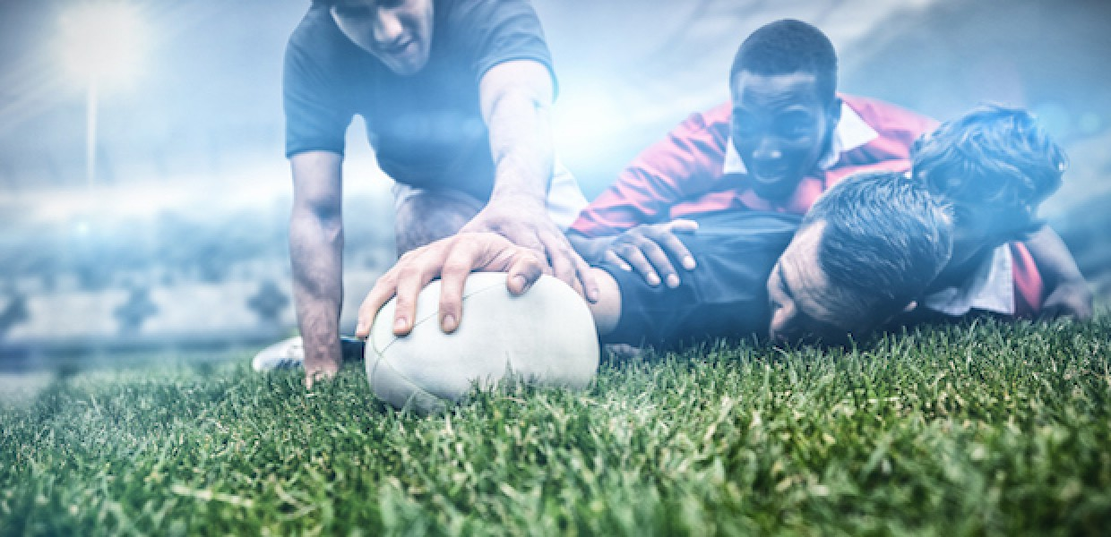 Rugby players on field