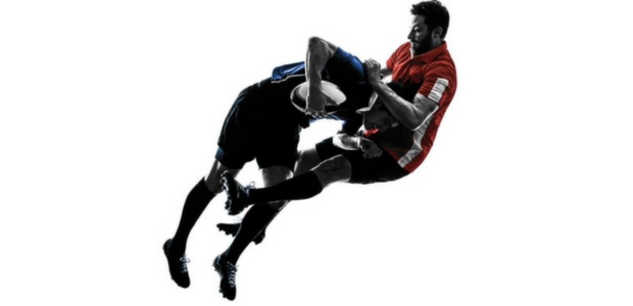 Rugby tackle in the air