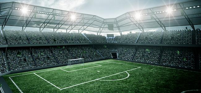 Soccer field under field lights