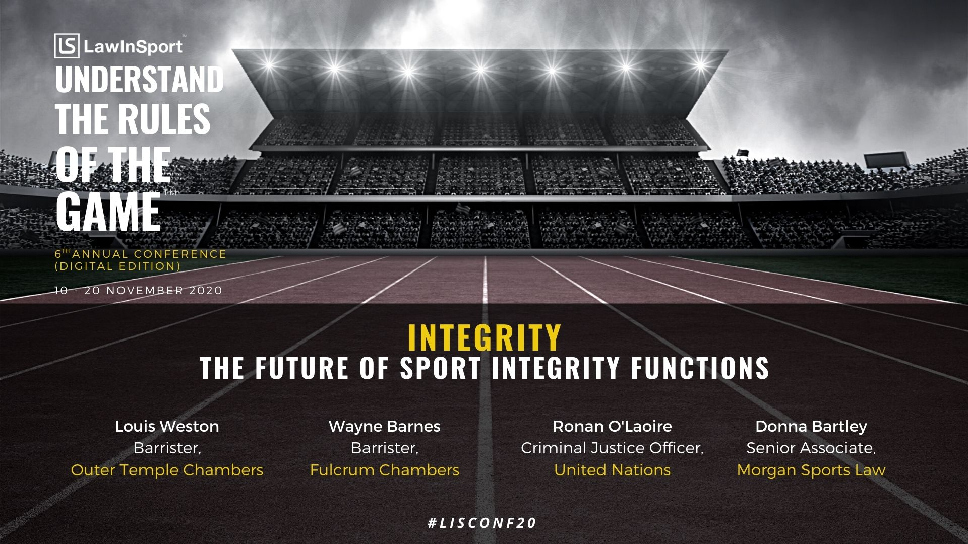 What is the future of sports integrity functions to be discussed at LawInSport's Annual 6th Conference