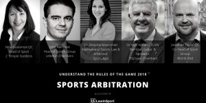 Photo of speakers for debate on sports arbitration