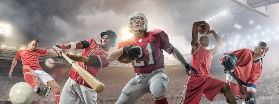 Action photo of baseball, basketball and American football player