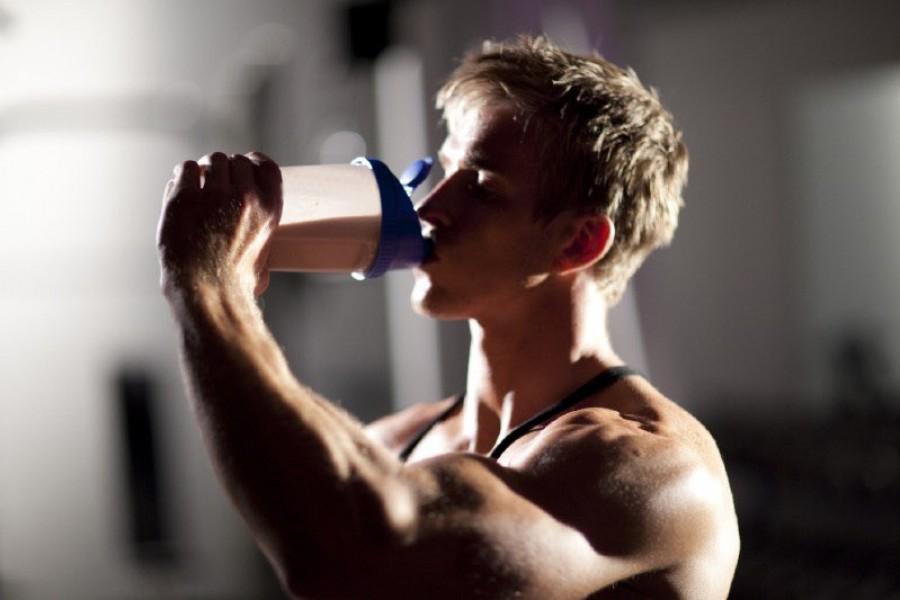 Body builder drinking