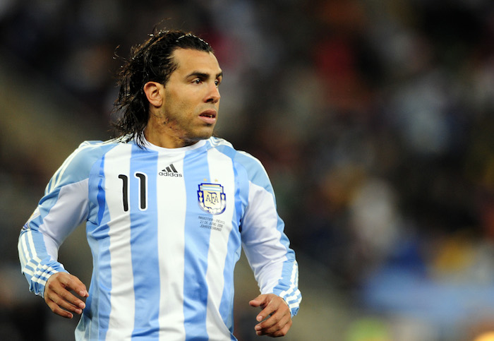 Tevez playing for Argentina