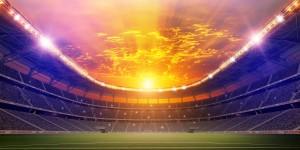 Sunrise over a stadium
