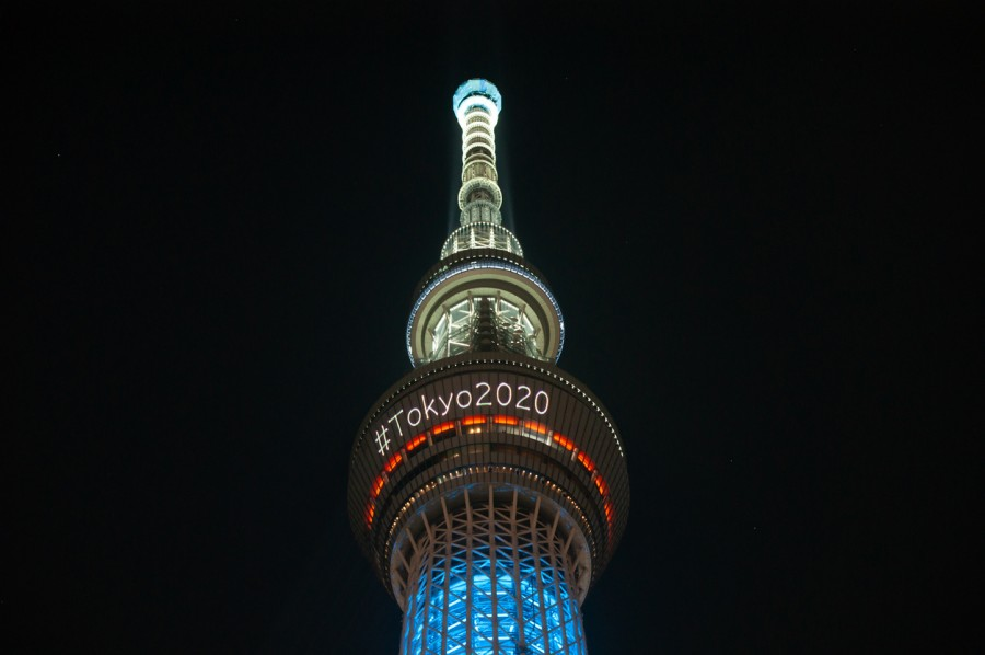 The skytree tower is illuminated at night announcing the Tokyo 2020 Olympics