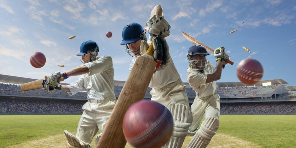 Three Batsman Hitting Cricket Ball