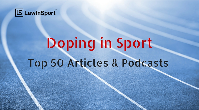 Title image of top 50 articles and podcasts on doping in sport