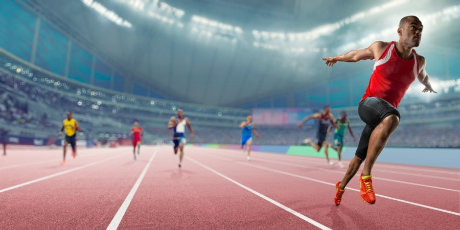 Title image - track athlete completing race
