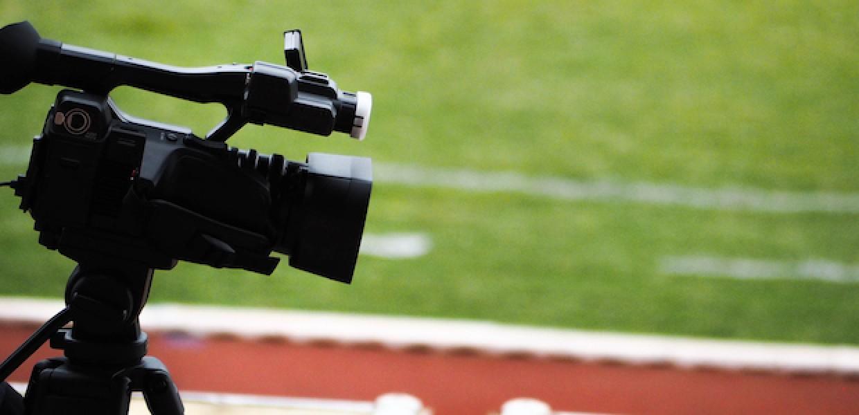 Video camera on a football stadium