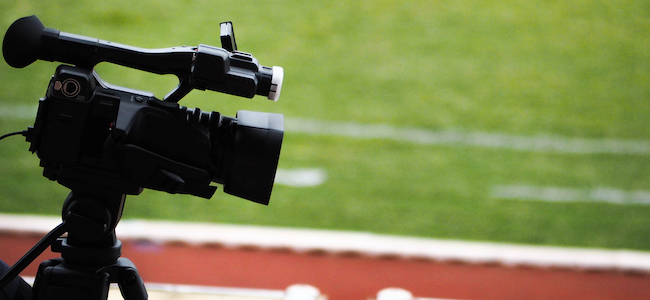 Video camera on a football stadium
