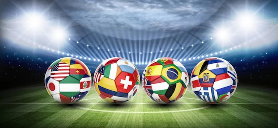 World flags on footballs