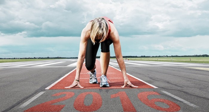 Women on start line of running track 2016