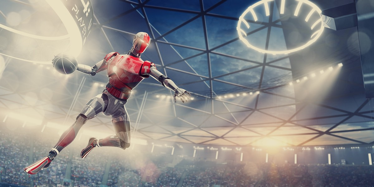 Image of a cyborg basketball player slam dunking on a futuristic court