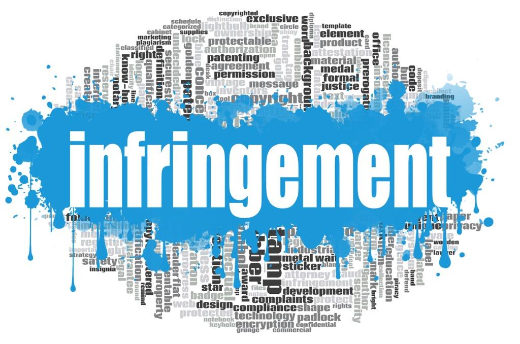 Infringement painted in word cloud