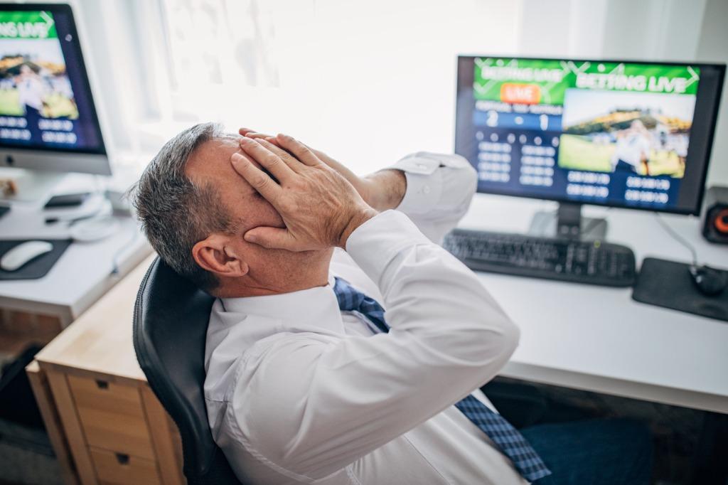 Reaction of man losing bet
