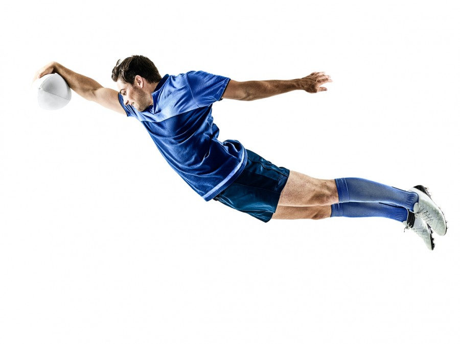 Rugby Player Diving