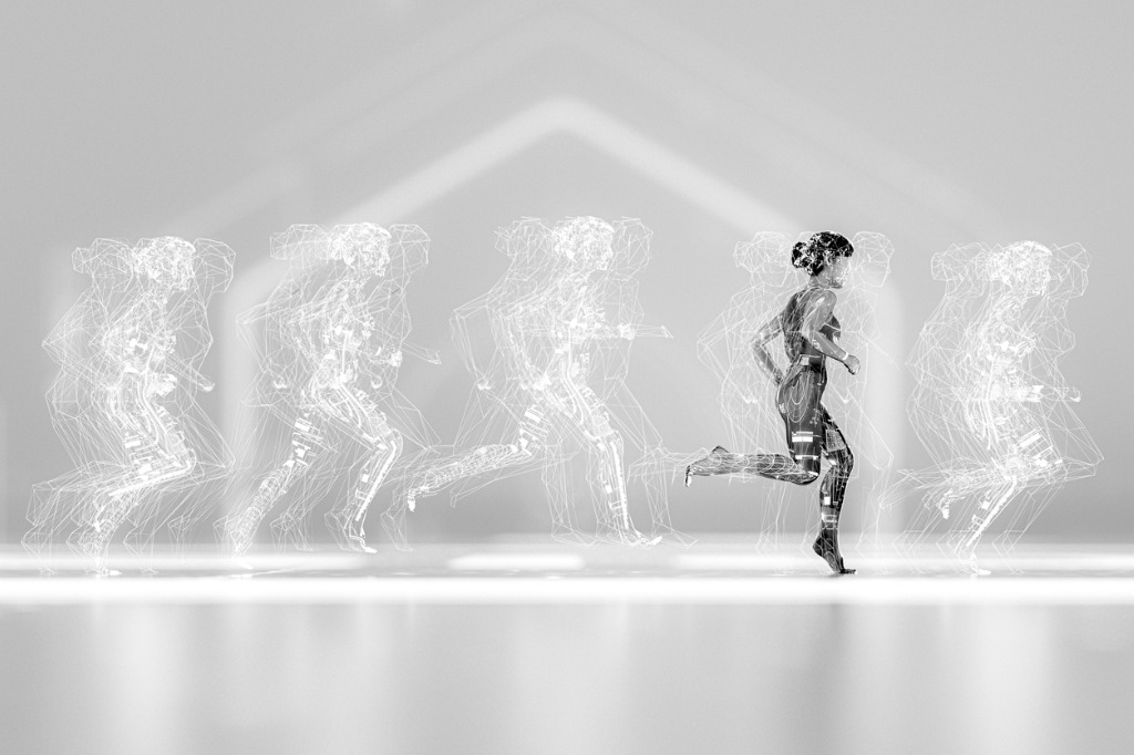 Woman running with data screen