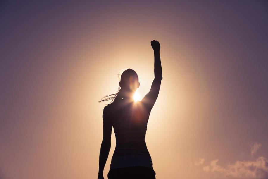 Women with hand raised