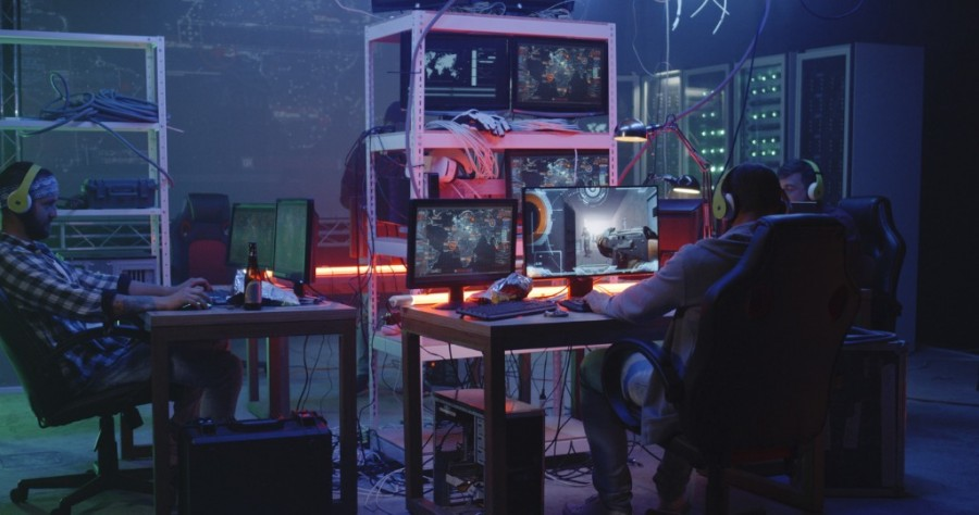 Young Man Playing Video Game